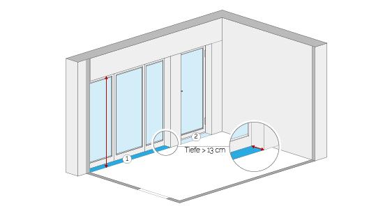 Wohnflächenberechnung - Fensternische und Fenstertürnische (Beispiel 1)