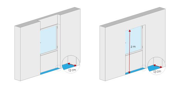 Wohnflächenberechnung - Fensternische ohne/mit Sturz
