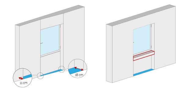 Wohnflächenberechnung - Fensternische/-bank